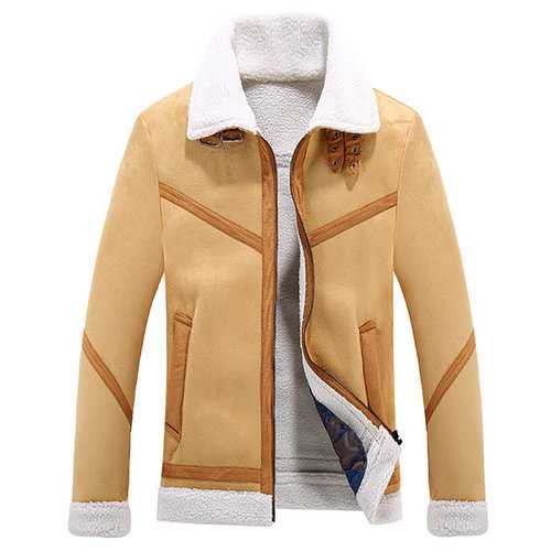 Casual Lapel Collar Thicken Fleece Jacket