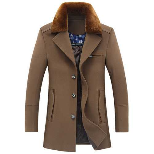Detachable Furry Collar Wool Coat
