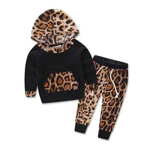 2pcs Leopard Baby Girls Clothing Set