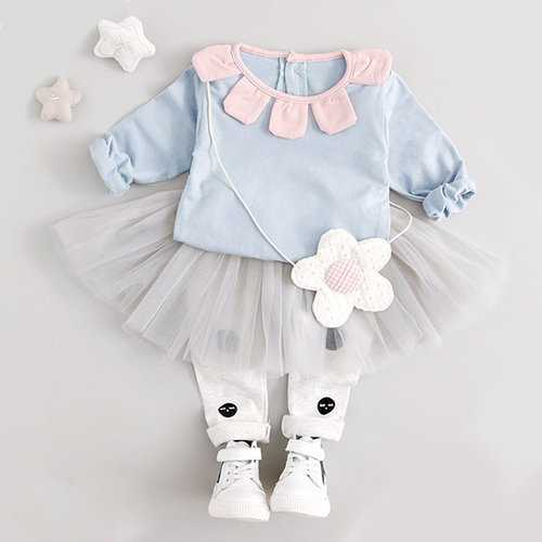 Flower Collar Baby Girls Clothing Set