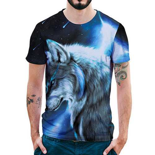 3D Star Wolf Printed Casual T-shirts