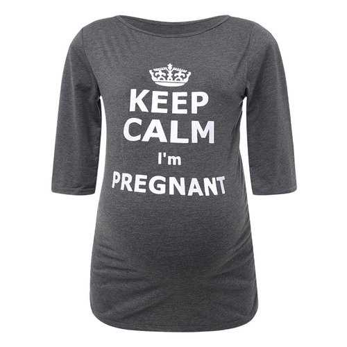 Cool Letter Printed Maternity Tops