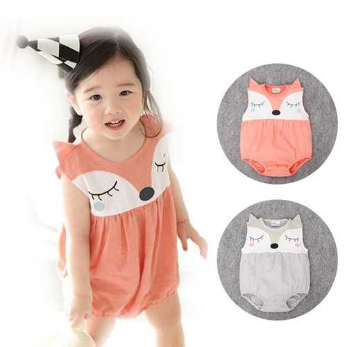 Unisex Newborn Baby Boys Girls Fox Romper