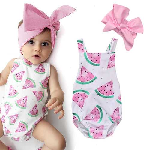 Baby Girls Watermelons Bodysuit With Headband