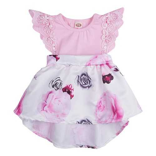 Lace Shoulder Baby Girls Flower Dresses
