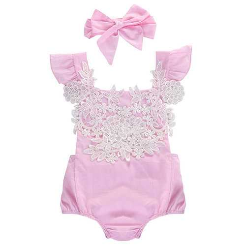 Sweet Lace Baby Girls Romper with Headband