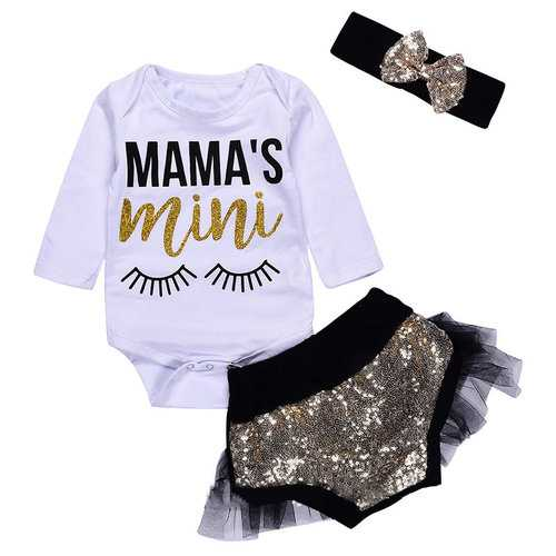 3PCS Newborn Baby Girls Outfit Romper Set