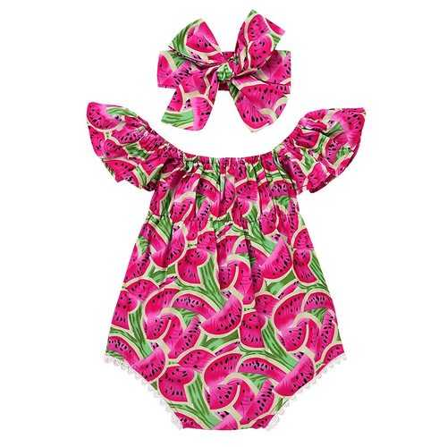 Watermelon Printed Girls Romper