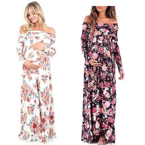 Printed Maxi Maternity Photography Dress
