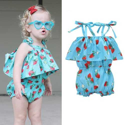 Strawberry Printed Baby Girls Strap Sleeveless