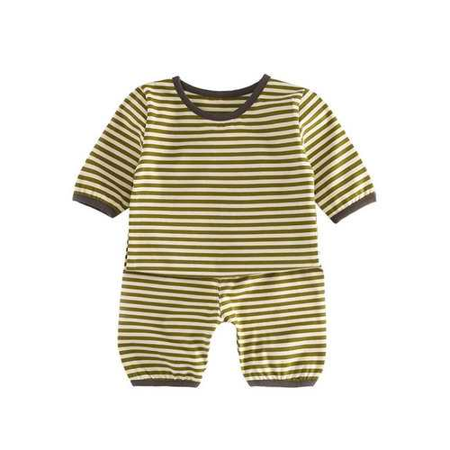 Stripe Cotton Unisex Pajama Set For 0-36M