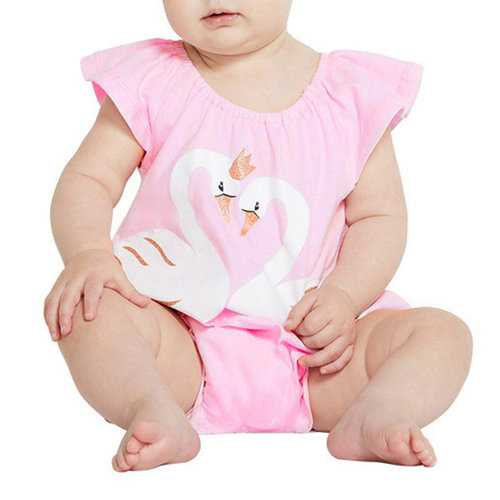 Swan Printed Baby Cotton Rompers