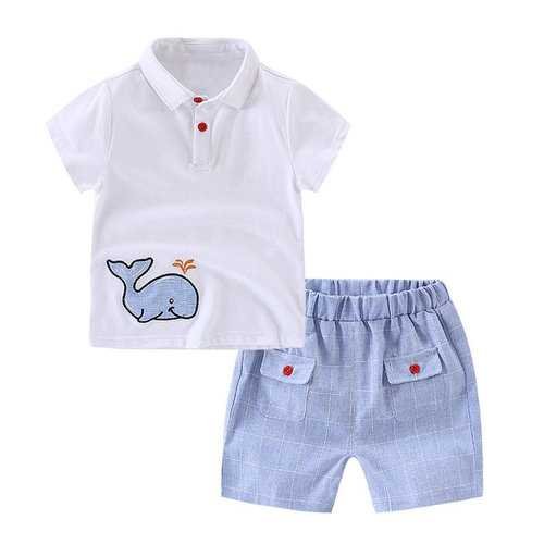 Embroidery Whale Boys Clothing Sets
