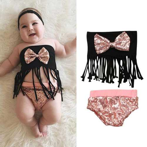 Tassel Sequined Girls Swimwear Set For 0-24M