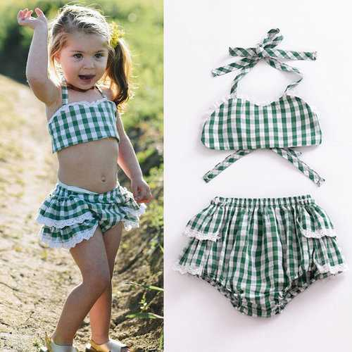 2Pcs Plaid Girls Summer Set For 0-24M