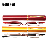 SOOLALA Mini Slim Compact Reader Reading Glasses Women Men Cheap Pocket Reading Glasses With Pen Clip Tube Case +1.0 to 3.5