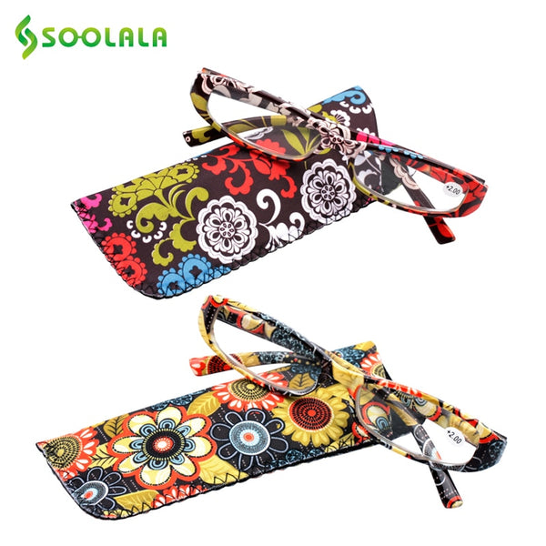 SOOLALA Printed Reading Glasses Spring Hinge Rectangular Presbyopic Reading Glasses W/ Matching Pouch +1.0 1.5 1.75 2.25 to 4.0