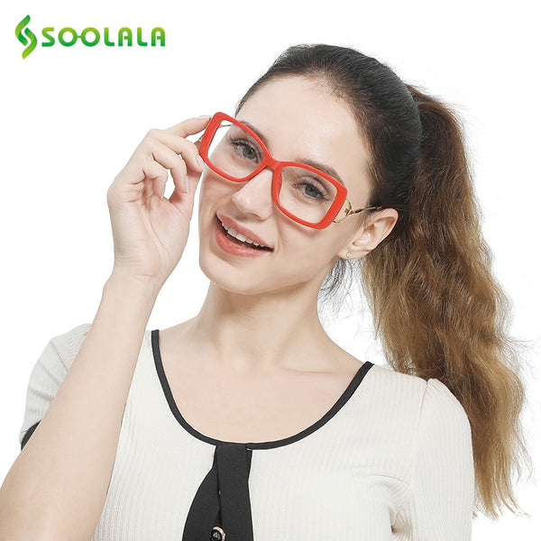 SOOLALA Square Reading Glasses Womens Mens Large Frame Fashion Eyeglasses Frame Magnifying Presbyopia Glasses +0.5 to 4.0