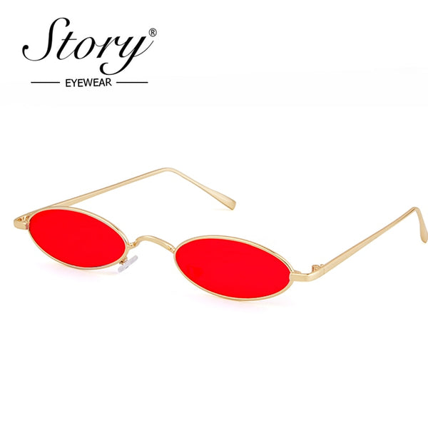 STORY 2018 Vintage Retro Small Oval Sunglasses Women Man Italy Brand Designer 90s Slim Tint Clear Lens Sun Glasses Red Shades