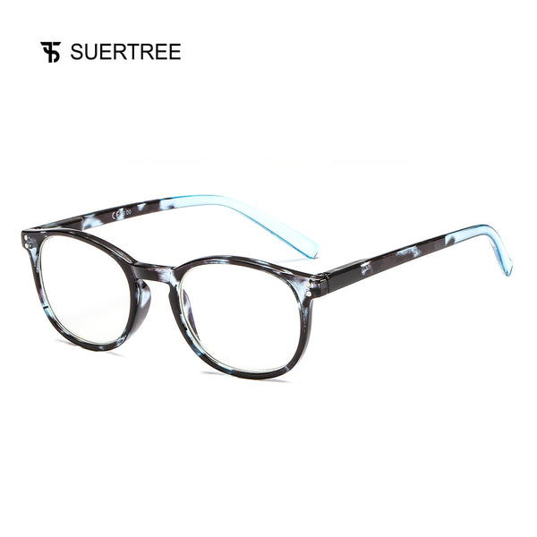 SUERTREE Reading Glasses Women Men Fashion Computer Blue Tortoise Frame Readers Trendy Spring Hinge Comfort Eyewear BM341
