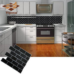 "Self Adhesive Peel and stick Black Subway Tile Backsplash 3D Mosaic (  1 Sheet ) 10.6"" X 10""inch  Wall Decal Sticker DIY Kitchen Bathroom Home Decor Vinyl"