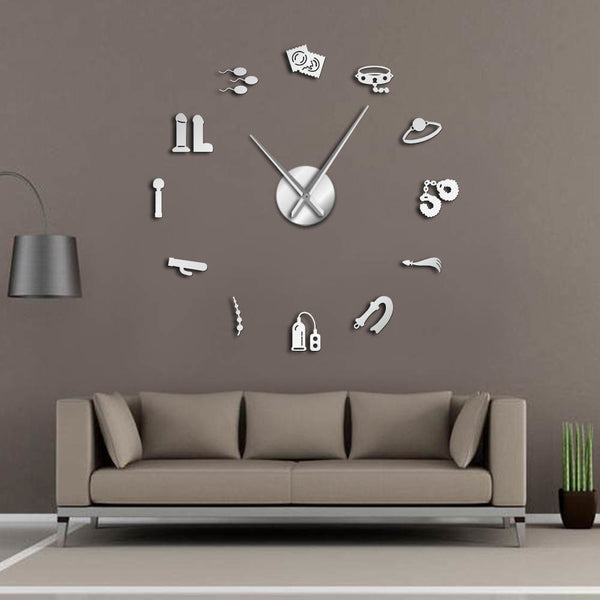 Sex Shop Vector DIY Giant Wall Clock Erotic Intimate Wall Art Role Games Artwork Modern Clock Wall Watch Home Living Room Decor