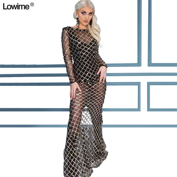 1b4cb92daa96 Sexy Illusion Sequined Red Carpet Celebrity Dresses Long Sleeve Avondjurk  Couture Vestido De Festa Longo 2019