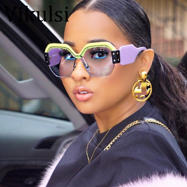 Sexy Rimless Oversized Sunglasses Women Vintage 2018 Red Pink Luxury Brand Sun Glasses For Female Rivet Big Frame Male Shades