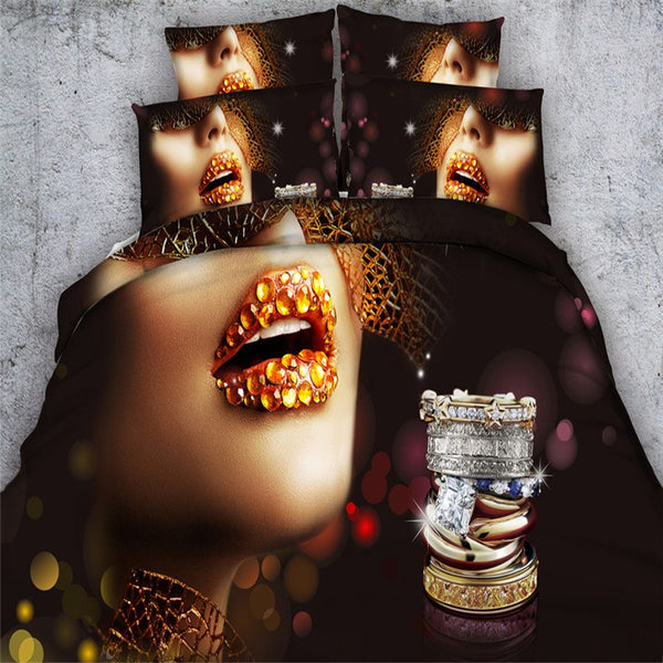 Sexy Golden Lip 3d luxury Bedding sets 4/3PC Duvet Cover set Single, Queen or king sizes.