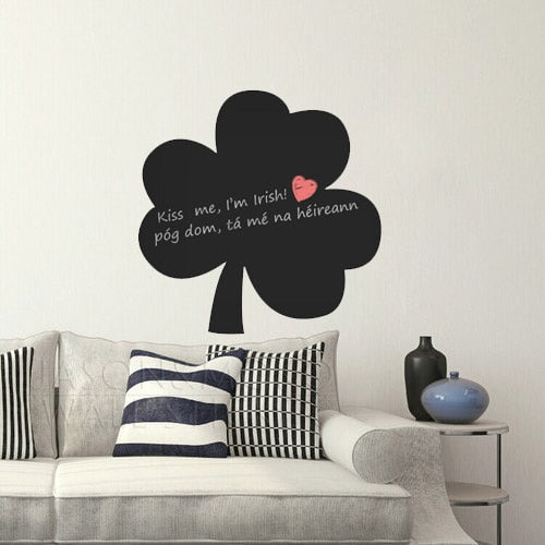 Shamrock Chalkboard Wall Stickers - Kitchen Decal - Irish Wall Art - Restaurant, Cafe, Bar - Wall Memo  55*55CM  Free shipping