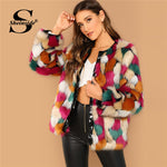 Sheinside Colorful Open Front Faux Fur Coat Women Elegant Tops 2018 Winter Thick Fashion Ladies Party Outerwear Womens Coats