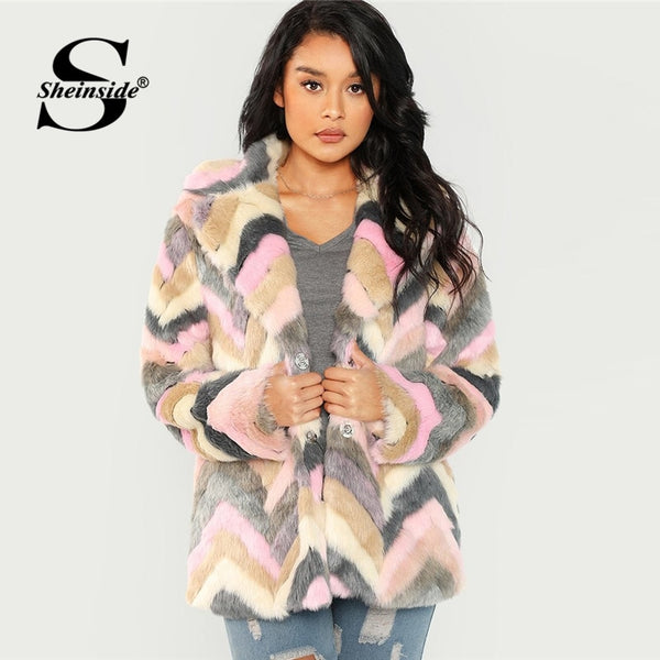 Sheinside Office Ladies Chevron Teddy Coat Women Elegant Outerwear Womens Autumn Winter Clothes 2018 Long Sleeve Faux Fur Coats