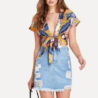 Short Women shirt Summer Sexy Bow Deep V-Neck Tropical plants Printing Batwing Sleeve Tops Party Beach tshirt 2018 poleras mujer