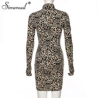 Simenual Leopard Sexy Hot Women Party Dress With Gloves Long Sleeve Skinny Clubwear Fashion Bodycon Mini Dresses Autumn Slim