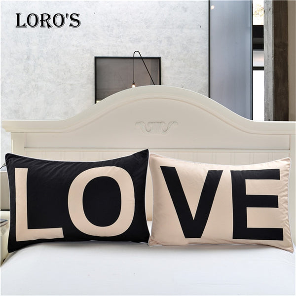 Simple Black White LOVE Pillow Case White Couple Lovers Gift Pillow Throw Pillowcases Home Beddroom Two Pair Pillows Bedding Set
