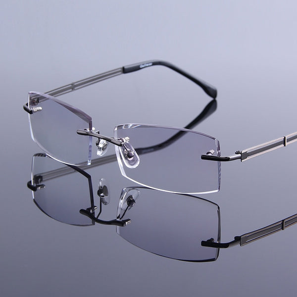 Simple Tinted Reading Glasses Men Rimless Reader Glasses High Definition Lens For Presbyopic EyeGlasses Male Prescription gafas