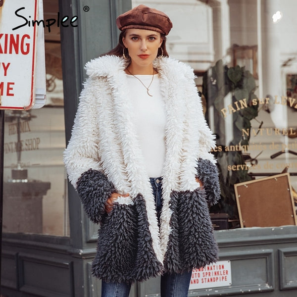 Simplee Fluffy faux fur splice coat women 2018 plus size Elegant thick warm plush outwear long coat Winter casual overcoat