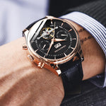 Skeleton Tourbillon Mechanical Watch Men Automatic Classic Rose Gold Leather Mechanical Wrist Watches Reloj Hombre 2018 Luxury