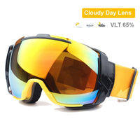 Ski Goggles UV400 Anti-fog with Sunny Day Lens and Cloudy Day Lens Options, Snowboard Sunglasses Wear Over Rx Glasses