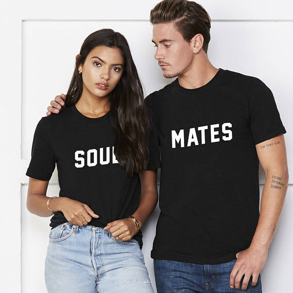Soulmates Couple Shirts funny matching Top Tee cotton anniversary gift. 1pc