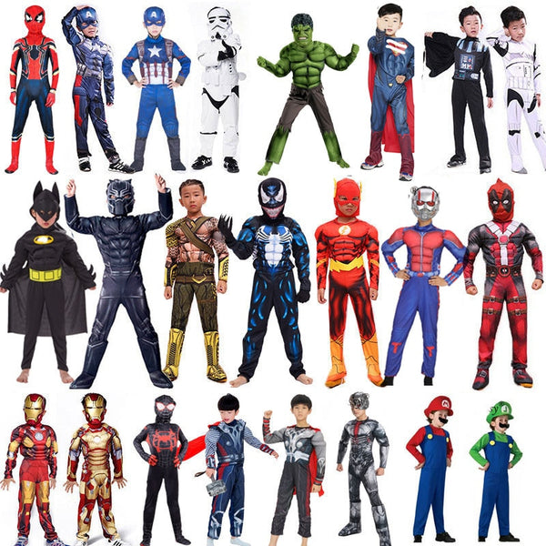 Spiderman Superman Iron Man Cosplay Costume for Boys Carnival Halloween Costume for Kids Star Wars Deadpool Thor Ant man Panther 1