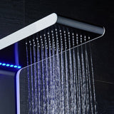 Stainless Steel Wall Mounted Shower Panel 4 Function  Waterfall Rainfall Massage Jets shower set with Handle Shower with LED