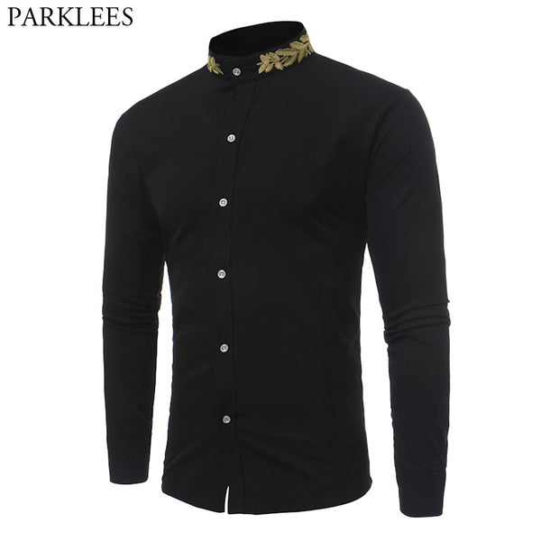 ef10157d88a Stand Collar Men Shirt 2017 Brand New Gold Embroidery Men Shirt Long Sleeve  Slim Fit Cotton