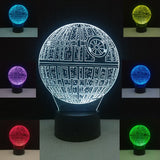 Star Wars Death Star 3D Lamp Illusion Night Light 7 Colors USB Power Novelty Lights Bedroom Table Living Room Decoration Lamps