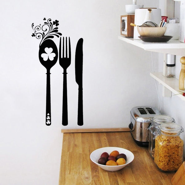Stickers Flower Irish Cutlery Cuisine Vinyl Wall Sticker Decals Murals Wall Art Wallpaper Kitchen Home Decor House Decoration