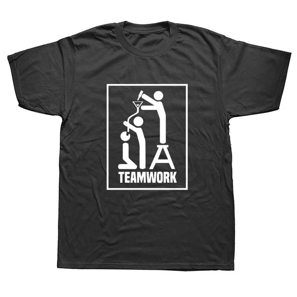 Summer Fashion Teamwork Funny Drinking Beer Makes Me Awesome Fathers Day T Shirt Men Short Sleeve Cotton Casual T-shirts