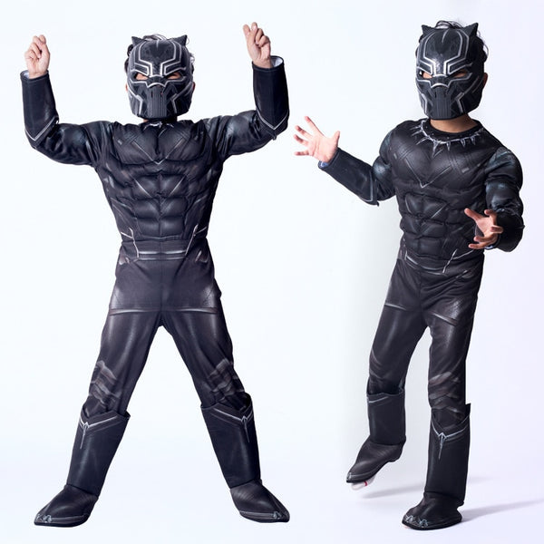 SuperHero Kids Muscle Black Panther Cosplay Costumes Clothes The Avengers Child Cosplay Super Hero Halloween Costumes For Kids
