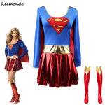 Superwoman Dress  Superman Cosplay Costumes For Adult and Girls Halloween Super Girl Suit Superhero Wonder Woman Super Hero