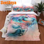 Svetanya Pillowcase+Duvet Cover Bed Linens Unicorn Print Bedding Set (no Sheet) Single Full Queen King Size