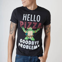 Teenage Mutant Ninja Turtles Hello Pizza Black T-Shirt